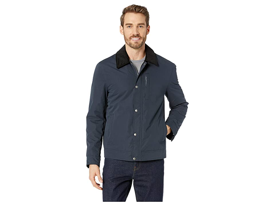 Cole Haan City Rain Padded Barn Jacket with Corduroy Collar (Navy) Men