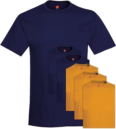 5280 Comfortsoft Tee-shirt ras du cou 6 pi¨¨ces pour hommes petit 3 Deep Navy + 3 or