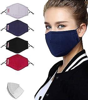 JXQ-N 4 Pcs Negro algodón de tela antipolvo transpirable con 8 piezas de filtro de carbón activado