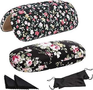 SwirlColor Étui à Lunettes Rigide, 2 Étuis à Lunettes à Fleurs pour Femmes Filles, avec 2 Chiffon de Nettoyage pour Lunett...