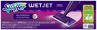 Swiffer WetJet Starter Kit, Includes: 1 Power Mop, 5 Pads, Solution, Batteries, 6 Piece Set