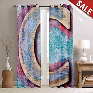 Hengshu Letter C Thermal Insulating Blackout Curtain Natural Wood Timber Letter C Typeface Worn Rough Display Retro ABC Blackout Draperies for Bedroom W72 x L84 Inch Teal Dark Coral Cream