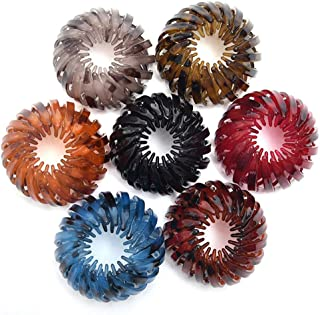 7Pcs Expandable Ponytail Holder Clip Bird Nest Shaped Hair Clips Hair Claw Clamps Hair Donut Bun Maker Hair Styling Tool f...