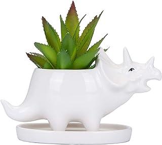VanEnjoy Desktop Cute Cartoon White Triceratops Dinosaur Ceramic Succulent Planter with Tray, Bonsai Cactus Flower Pot Vas...