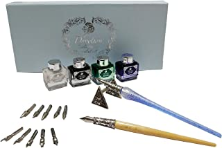 Daveliou Calligraphy Pen Set - 17-Piece Kit - Silver Leaf Blue Glass & Wooden Pens - 10 Nib & 4 Ink Set - Superior Control