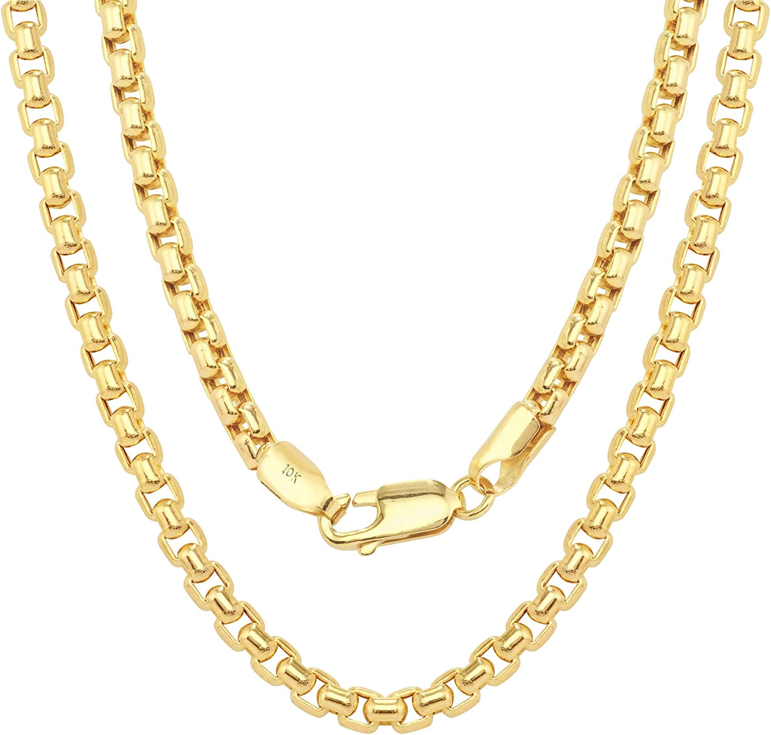Nuragold 10k Yellow Gold 3mm Round Box Chain Venetian Link Pendant Necklace, Mens Womens Lobster Lock 16