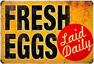 Fresh Eggs Laid Daily Metal Art Sign For Chicken Coop Hen Coop Kitchen Cottage Farm Decor 20cm x 30cm