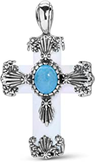American West Sterling Silver Gemstone Floral Cross Pendant Enhancer Choice of 2 Colors