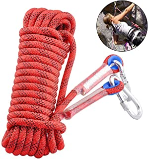 Vankcp 12mm Outdoor Climbing Rope 32ft Static Rock Climbing Rope Red Life Safety Rope Fire Escape Rappelling Gear with Two Iron Hooks