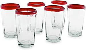 NOVICA Clear Red Rim Hand Blown Glass Eco-Friendly Tumbler Glasses, 16 oz, Ruby Groove' (set of 6)