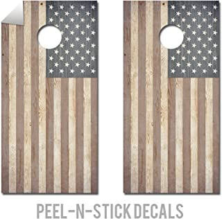 Wood Looking American Flag - Cornhole Crew - ACA Regulation Size Cornhole Board Decals