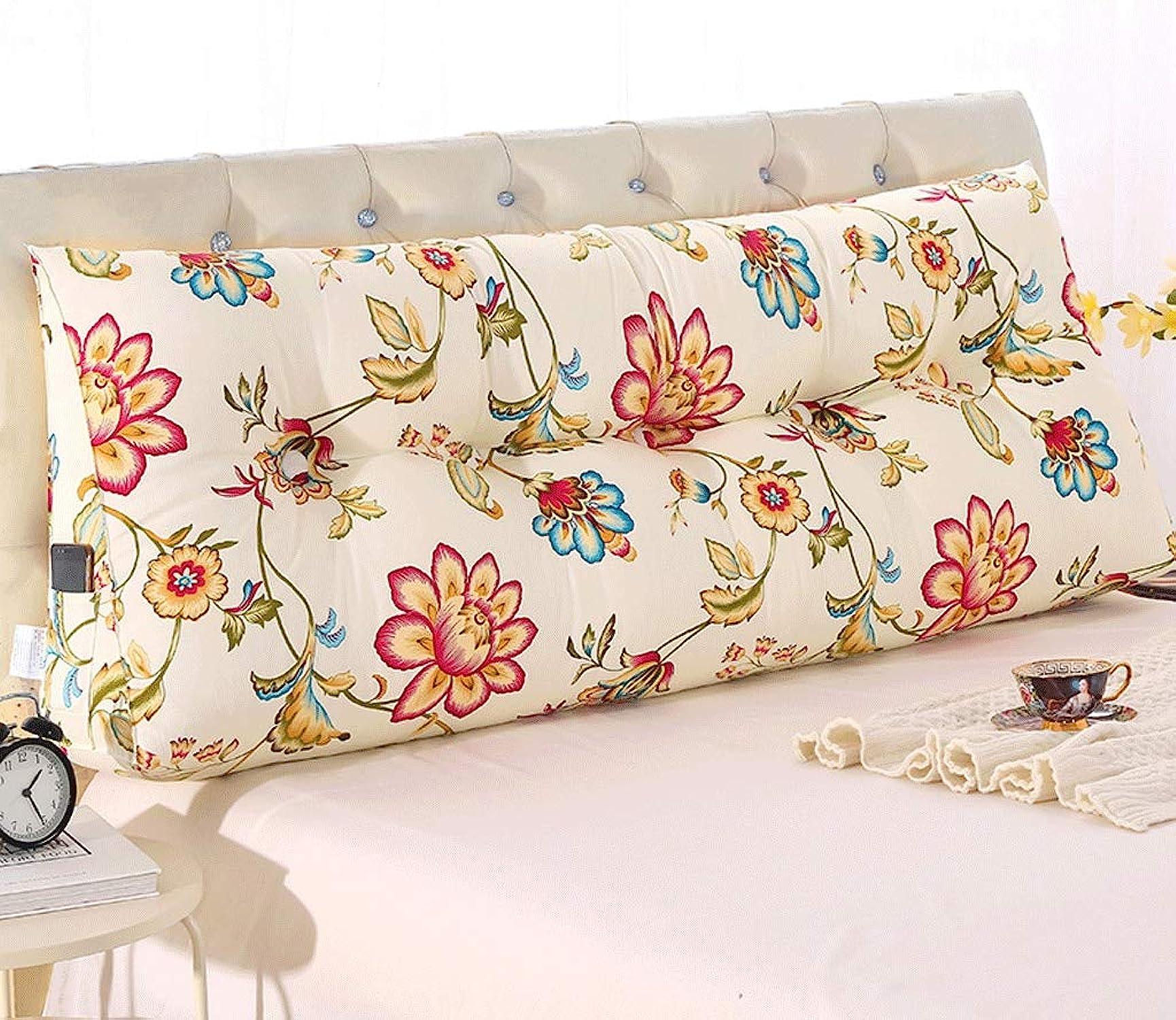 Coussin de triangle de chevet, oreiller long, oreiller de dossier de lit de tatami, matelas de lecture de coussin de tête de lit canapé rembourré (Couleur   E, taille   200  50  20cm)