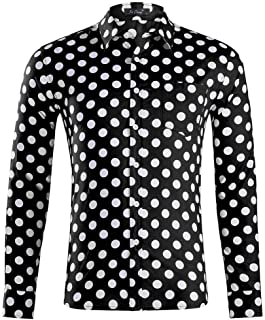 Men's Polka Dot Print Casual Shirt Long Sleeve Slim Fit Cotton Button Down Dress Shirts