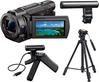 Sony 4K HD Video Recording FDR-AX33 Handycam Camcorder, Bundle GPVPT1 Grip and Tripod for Camcorders ECM-GZ1M Gun/Zoom Microphone + Takama 66 inch 3 Section Tripod