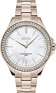 Hugo Boss Women's White Mother Of Pearl Dial Ionic Plated Carnation Gold Steel Watch - 1502459
