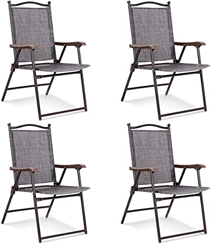 high quality Giantex Set of 4 Folding Sling Back Chairs Indoor Outdoor Camping Chairs Garden Patio Pool popular Beach Yard Lounge Chairs new arrival w/Armrest (Gray) online