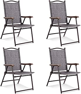 Giantex Set of 4 Folding Sling Back Chairs Indoor Outdoor Camping Chairs Garden Patio Pool Beach Yard Lounge Chairs w/Armrest (Gray)