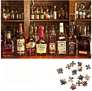 MOMPLUS Whiskey Cognac Bottle Jigsaw Puzzle for Adults Kids 1000 Piece, Intellective Learning Educational Decompression Ga...