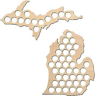 Michigan Beer Cap Map - 19x18 inches - 37 caps - Beer Cap Holder Michigan - Birch Plywood