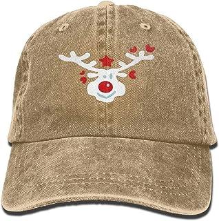 2c89d36ac03 RS-pthrAA Smiley Christmas Reindeer Unisex Yarn-Dyed Denim Baseball Cap  Adjustable Snapback Solid