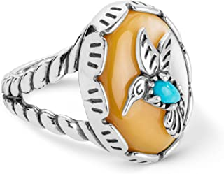 American West Sterling Silver Mother of Pearl and Turquoise Gemstone Hummingbird Ring Size 5 to 10