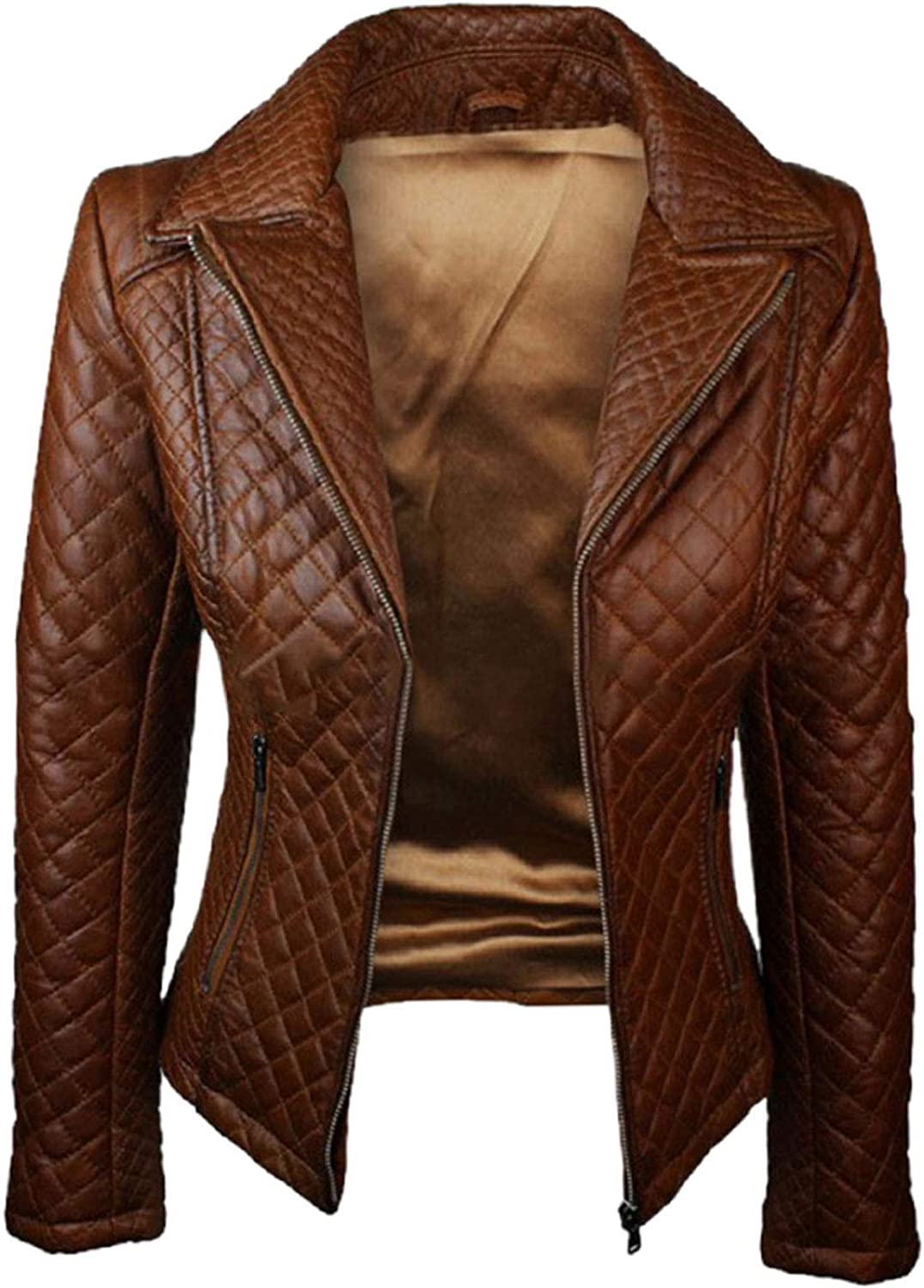 UGFashions Womens Vintage Brando Motorcycle Quilted Brown Biker Slim Fit Synthetic Leather Jacket