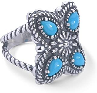 American West Sterling Silver Sleeping Beauty Turquoise Gemstone Butterfly Concho Ring Size 5 to 10