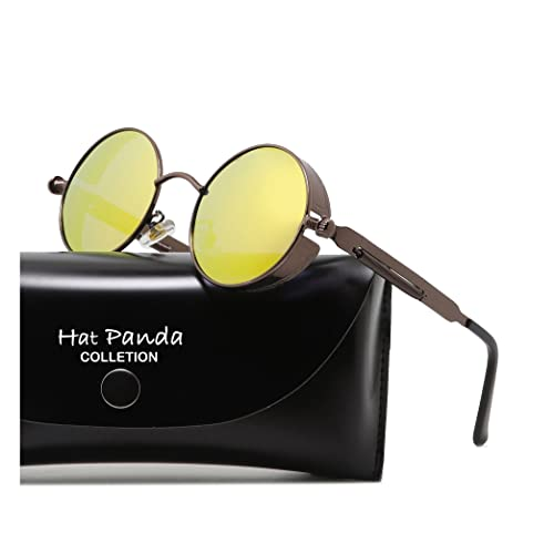 4a2b039629 HatPanda Round Polarized Steampunk Sunglasses Retro Sunglasses For Men And  Women