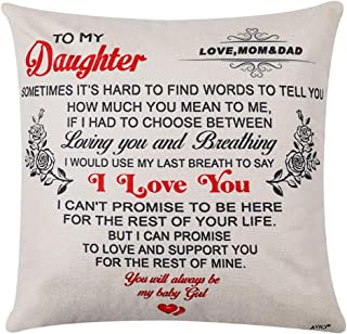 wompolle Anniversary Birthday for My Daughter Love mom dad Daughter Gift from mom Linen Throw Pillow Case Square Cushion C...