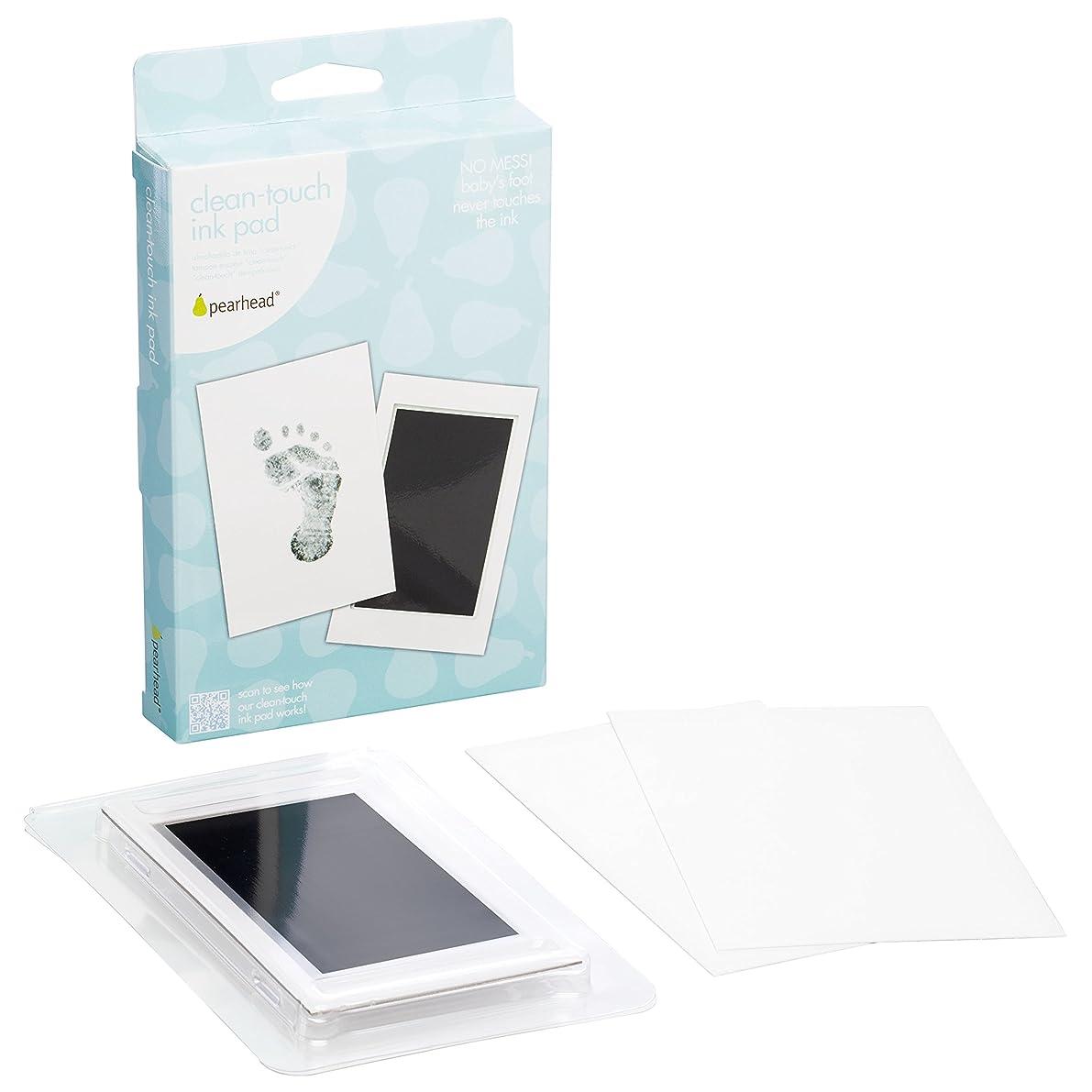 "Pearhead Newborn Baby Handprint or Footprint ""Clean-Touch"" Ink Pad, 2 Uses, Black"