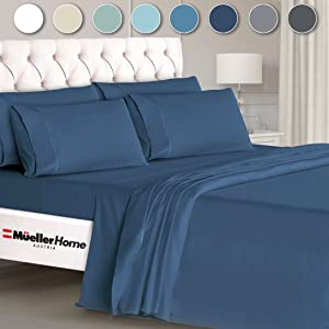 Mueller Ultratemp Bed Sheets Set, Super Soft 1800 Thread Count Egyptian 18-24 Inch Deep Pocket Sheets, Transfers Heat, Breathes Better, Hypoallergenic, Wrinkle, 6Pc, Navy Queen