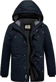 معطف باركا دافئ للشتاء للرجال من WenVen معطف قطني مبطن مع قلنسوة قابلة للفصل