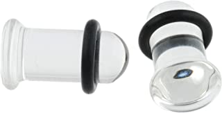 Pair of Clear Glass Single Flared Plugs