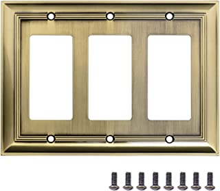 AmazonBasics Triple Gang Light Switch Wall Plate, Antique Brass, 1-Pack