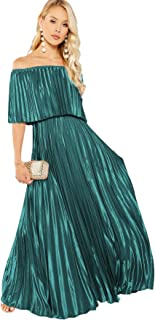 Women's Casual Off The Shoulder Layered Ruffle Party Beach Long Maxi Dress