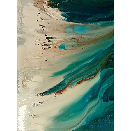 Amazon Com Faicai Art Abstract Wall Art Turquoise Beige Beach Canvas Art Prints Modern Landscape Paintings Art Work Pictures For Living Room Office Hotel Wall Poster Colorful Home Decor Wooden Framed 24 X36 Posters