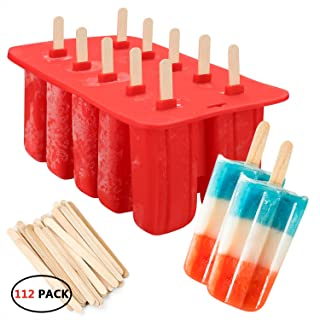 10-Cavity Slicone Frozen Ice Pop Maker with100Wooden Sticks for Toddlers, Kids and Adults - BPA Free(Red)