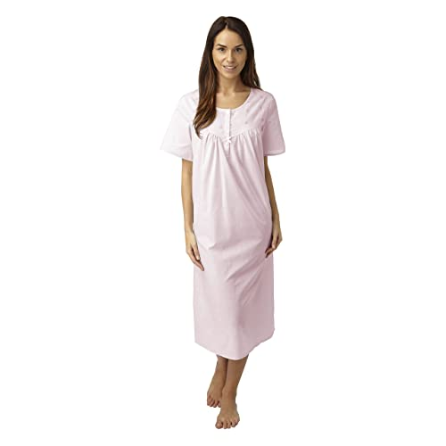 Marlon Ladies Long Poly Cotton Short Sleeved Nightdress. Pink Or Blue. Sizes  12 bd54e268d