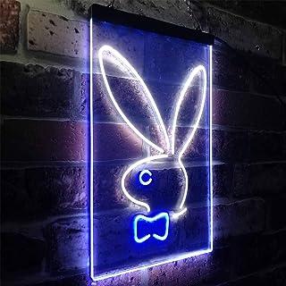 Zusme Bunny Rabbit Kid Room - Decoración LED de neón blanco + azul (30 x 40 cm)