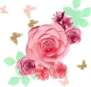 Fonder Mols 3D Paper Flowers Backdrop (Rose Pink, Set of 16), Baby Girl Nursery Paper Flower Wall Decor, Nursery Decor, Wedding Centerpiece