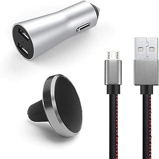 Kit 3-em-1 Veicular, Suporte Magnético, Carregador, Micro USB, Geonav, PMIC31, Preto-Cinza Alumínio