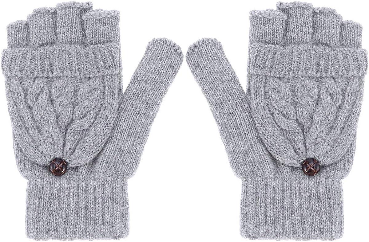 UEETEK Women Winter Warm Wool Knitted Convertible Fingerless Gloves with Mitten Cover (Brown)