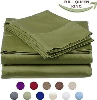 High Strength Natural Bamboo Fiber Yarns Egyptian Comfort 1800 Thread Count 4 Piece King Size Sheet Set, Green Color