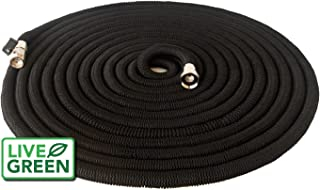Heavy Duty 150 ft Black Expandable Garden Hose | All New Design | Nickel Plated Brass Fittings | Nozzle Included (150, Black)