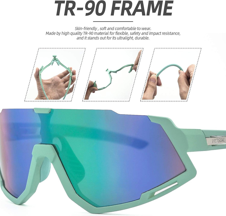 VICTGOAL Fahrradbrille Sportbrille Polarisierte UV400 Schutz mit 3 Wechselgl/äser Leichte Sonnenbrille f/ür Herren Damen zum Radfahren Wadern Laufen