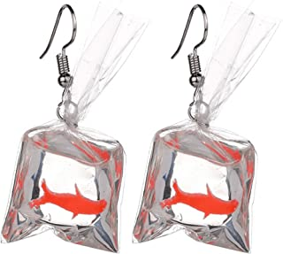 Handmade cute fish earrings water bag Dangle Hook pendant earrings girl DSBE
