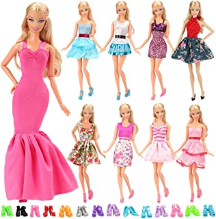 BARWA 5pcs Fashion Mini Dress Handmade Short Party Gown Clothes for 11.5 inch Girl Doll (5 Outfits + 10 Shoes)