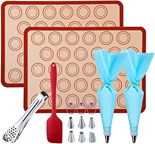 GARCENT Macaron Silicone Mat, Non-stick Silicon Pastry Baking Mold Set of 2, Cookie Half Sheet Kit with Oil Brush, Silicone Spatula, Food Tongs, Cake Decorating Supplies