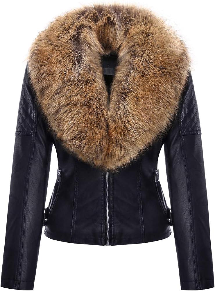 Geschallino, giacca corta da donna in pelle pu,con tasche con cerniera