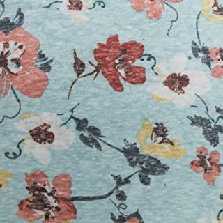 """59"""" Floral Printed Polyester Cotton Knit Fabric by The Yard or Sample Swatch (Yard, Mint & Coral)"""